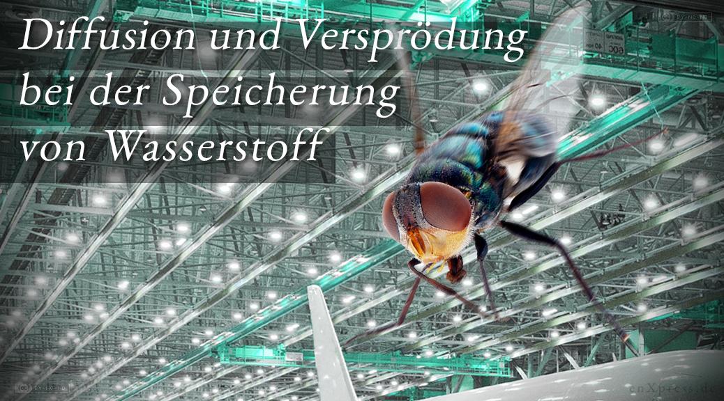 Das Bild zeigt im Vordergrund eine manövrierende Fliege im Flug durch eine Produktionshalle für Flugzeuge.
