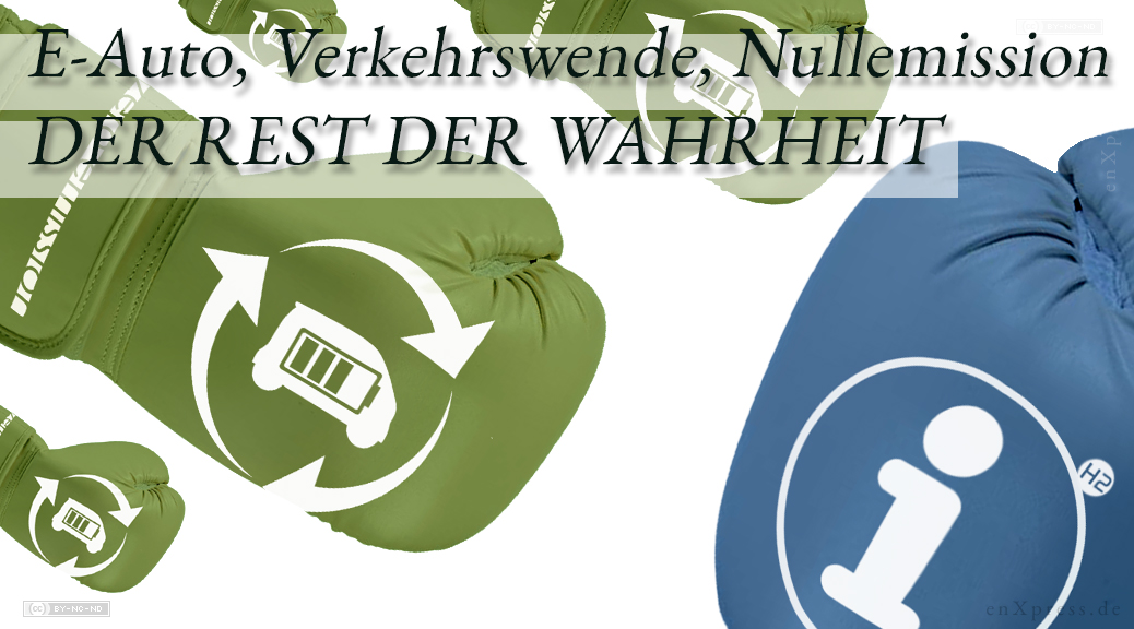 """Kampf: Von schräg links oben kommend mehrere Boxhandschuhe mit Batterieauto-Logo und """"zero emission"""" -Aufschrift. Aus der Gegenrichtung kommend ein großer blauer Boxhandschuh mit """"Info""""-Logo mit kleinem H2-Anhängsel."""